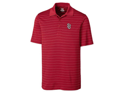 St Johns Red Storm Cutter & Buck NCAA Men's Franklin Stripe Polo