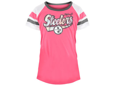 Pittsburgh Steelers 5th & Ocean NFL Youth Girls Pink Foil T-Shirt