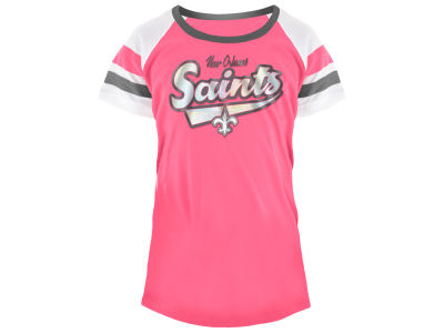 New Orleans Saints 5th & Ocean NFL Youth Girls Pink Foil T-Shirt