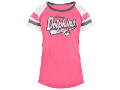 Miami Dolphins 5th & Ocean NFL Youth Girls Pink Foil T-Shirt