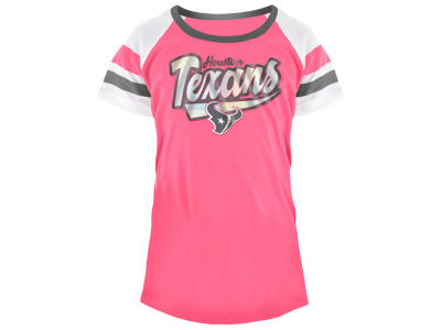 Houston Texans 5th & Ocean NFL Youth Girls Pink Foil T-Shirt