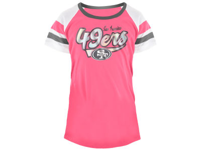 San Francisco 49ers 5th & Ocean NFL Youth Girls Pink Foil T-Shirt