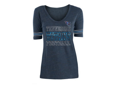 Tennessee Titans 5th & Ocean NFL Women's Tri-Blend Foil Sleeve Stripe T-Shirt