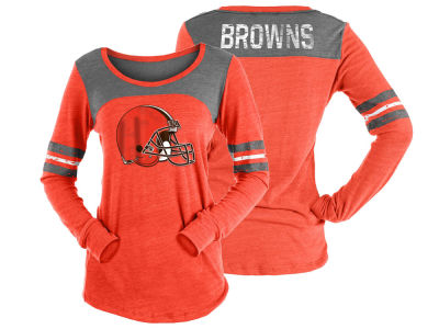Cleveland Browns 5th & Ocean NFL Women's Tri-Blend Distressed Long Sleeve T-Shirt