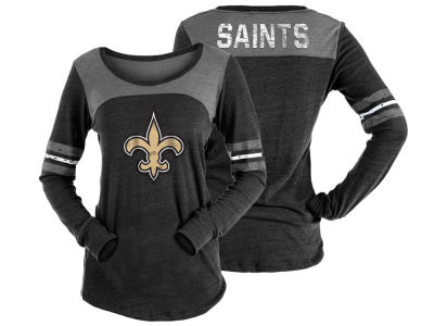 New Orleans Saints 5th & Ocean NFL Women's Tri-Blend Distressed Long Sleeve T-Shirt