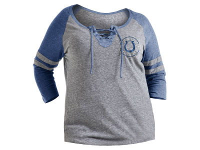 5th & Ocean NFL Women's Lace up Tri-blend Raglan Plus Size T-Shirt