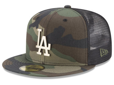 Los Angeles Dodgers New Era MLB Camo Mesh Back 59FIFTY Cap c05398435a