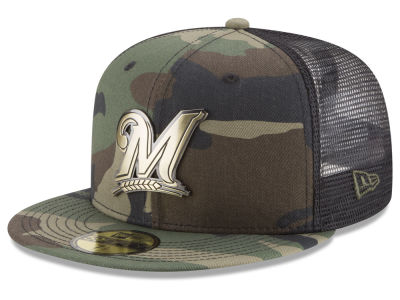 Milwaukee Brewers New Era MLB Camo Mesh Back 59FIFTY Cap