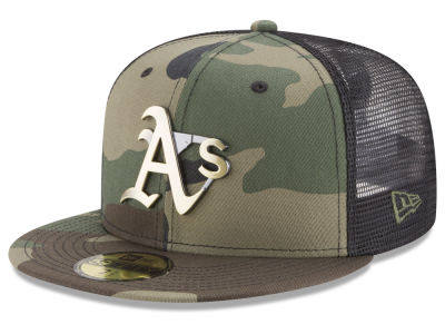Oakland Athletics New Era MLB Camo Mesh Back 59FIFTY Cap