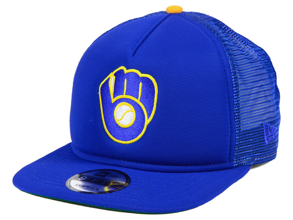 dc6d033b7 Milwaukee Brewers New Era MLB Classic Trucker 9FIFTY Snapback Cap ...