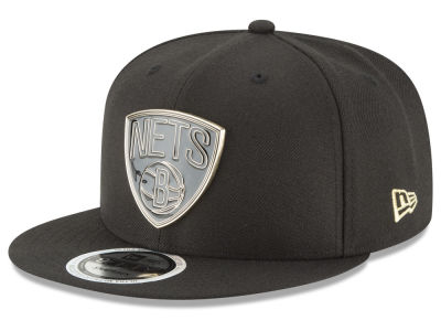 Brooklyn Nets New Era NBA Black Enamel 9FIFTY Snapback Cap