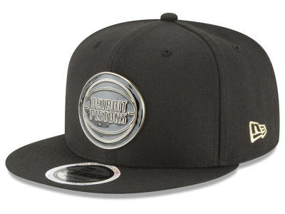 Detroit Pistons New Era NBA Black Enamel 9FIFTY Snapback Cap