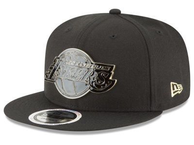 Los Angeles Lakers New Era NBA Black Enamel 9FIFTY Snapback Cap