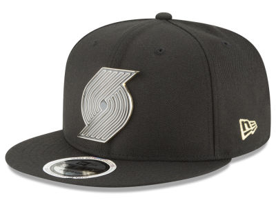 Portland Trail Blazers New Era NBA Black Enamel 9FIFTY Snapback Cap