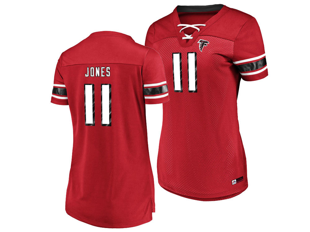 Atlanta Falcons Julio Jones Majestic 2018 NFL Women s Draft Him Shirt  0406768527