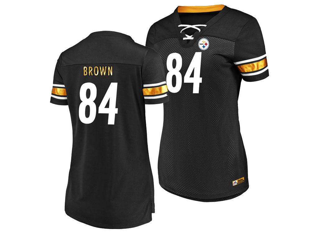 Pittsburgh Steelers Antonio Brown Majestic 2018 NFL Women s Draft Him Shirt   c513404a0c