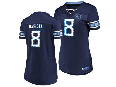 Tennessee Titans Marcus Mariota Majestic 2018 NFL Women's Draft Him Shirt