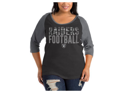 Oakland Raiders 5th & Ocean NFL Women's Plus Colorblock Raglan T-shirt