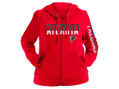 Atlanta Falcons 5th & Ocean NFL Women's Plus Glitter Block Hoodie