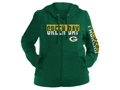 Green Bay Packers 5th & Ocean NFL Women's Plus Glitter Block Hoodie