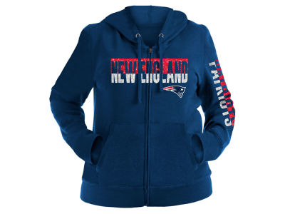 New England Patriots 5th & Ocean NFL Women's Plus Glitter Block Hoodie