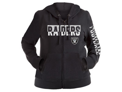 Oakland Raiders 5th & Ocean NFL Women's Plus Glitter Block Hoodie