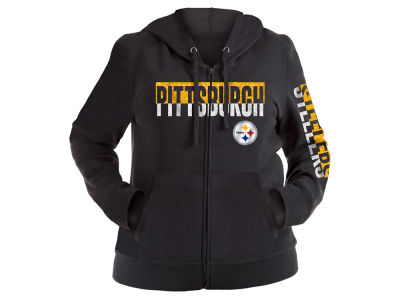 Pittsburgh Steelers 5th & Ocean NFL Women's Plus Glitter Block Hoodie