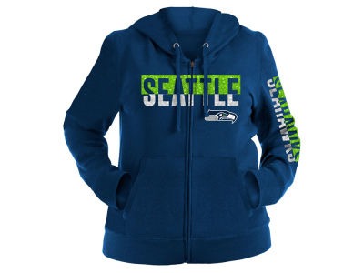 Seattle Seahawks 5th & Ocean NFL Women's Plus Glitter Block Hoodie