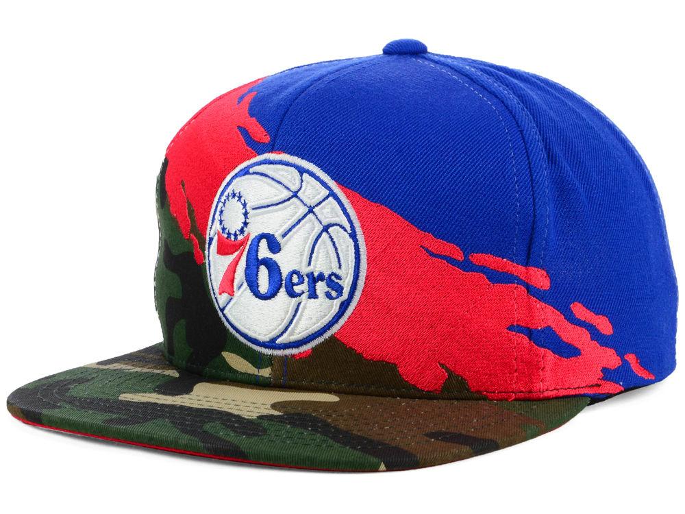 767bb4c6f7d Philadelphia 76ers Mitchell   Ness NBA Paint Brush Snapback Cap ...