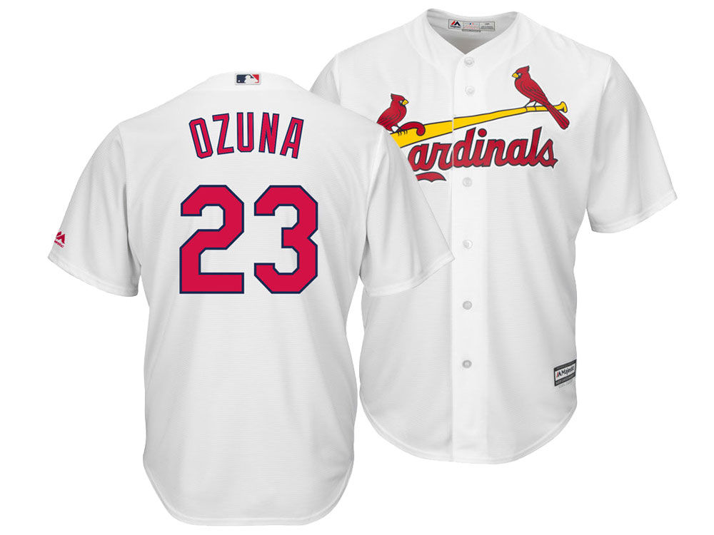 St. Louis Cardinals Marcell Ozuna Majestic MLB Men s Player Replica Cool  Base Jersey  099a64235