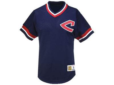 Cleveland Indians Mitchell & Ness MLB Men's Mesh V-Neck T-shirt
