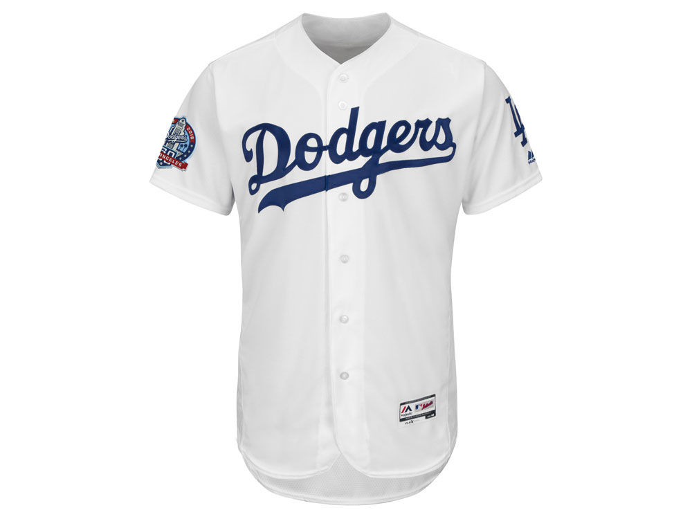 dc011a422 Los Angeles Dodgers Majestic MLB Men s Flexbase 60th Anniversary Patch  Jersey