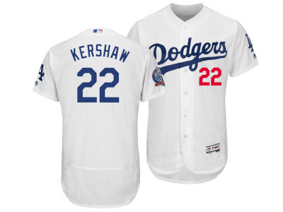 Los Angeles Dodgers Clayton Kershaw Majestic MLB Men's Flexbase 60th Anniversary Patch Jersey
