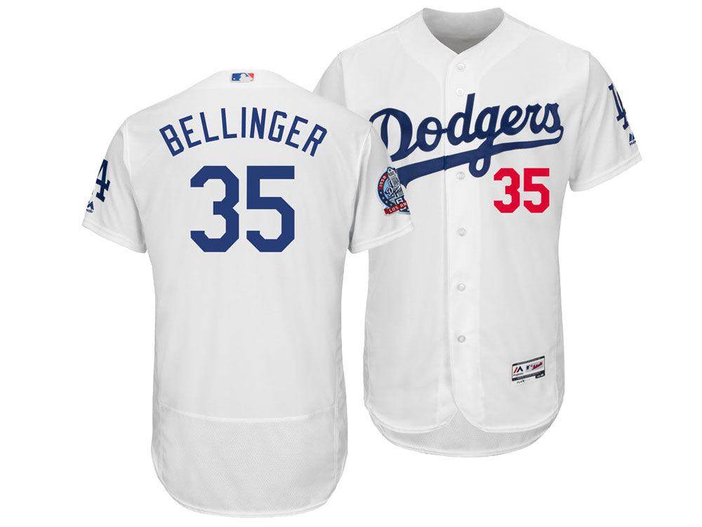 5f11f7317 Los Angeles Dodgers Cody Bellinger Majestic MLB Men s Flexbase 60th  Anniversary Patch Jersey