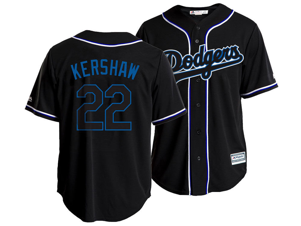 Los Angeles Dodgers Clayton Kershaw Majestic MLB Men s Pitch Black Jersey  206946208