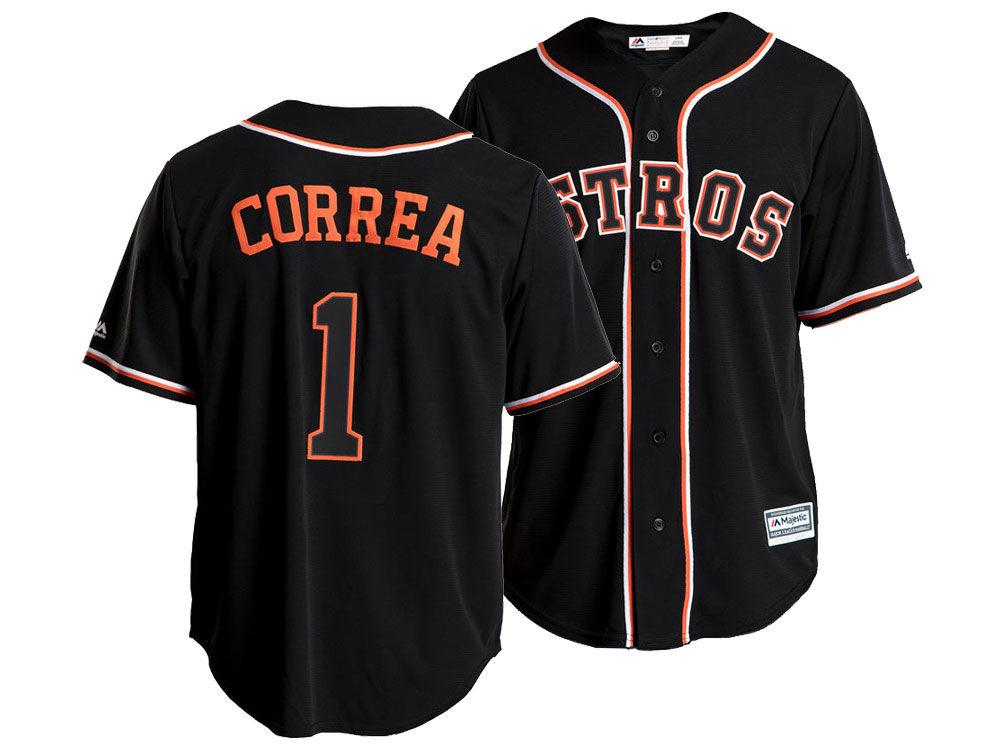 Houston Astros Carlos Correa Majestic MLB Men s Pitch Black Jersey ... f12511e11