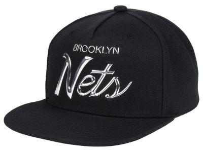 Brooklyn Nets Mitchell & Ness NBA Metallic Tempered Snapback Cap