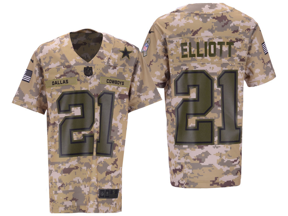 d2985bc10 Dallas Cowboys Ezekiel Elliott Nike 2018 NFL Youth Salute To Service Game  Jersey