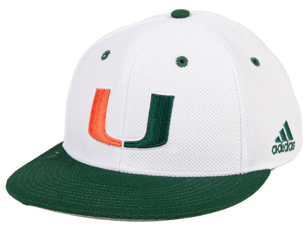 ed5f4b1c8af Miami Hurricanes adidas NCAA On-Field Baseball Fitted Cap