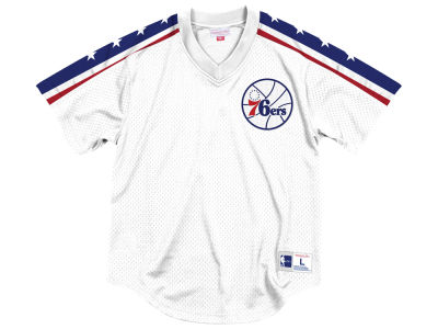 Philadelphia 76ers Mitchell & Ness NBA Men's Winning Team Mesh V-Neck Jersey