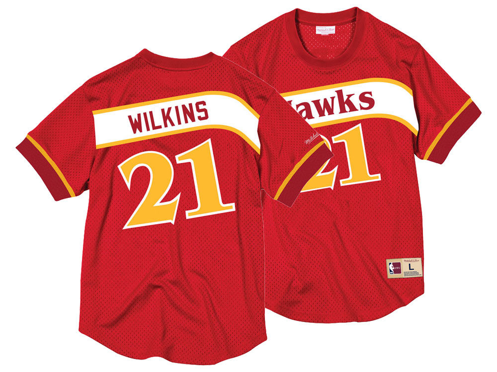 33df778b1 Atlanta Hawks Dominique Wilkins Mitchell   Ness NBA Men s Name and Number  Mesh Crewneck Jersey