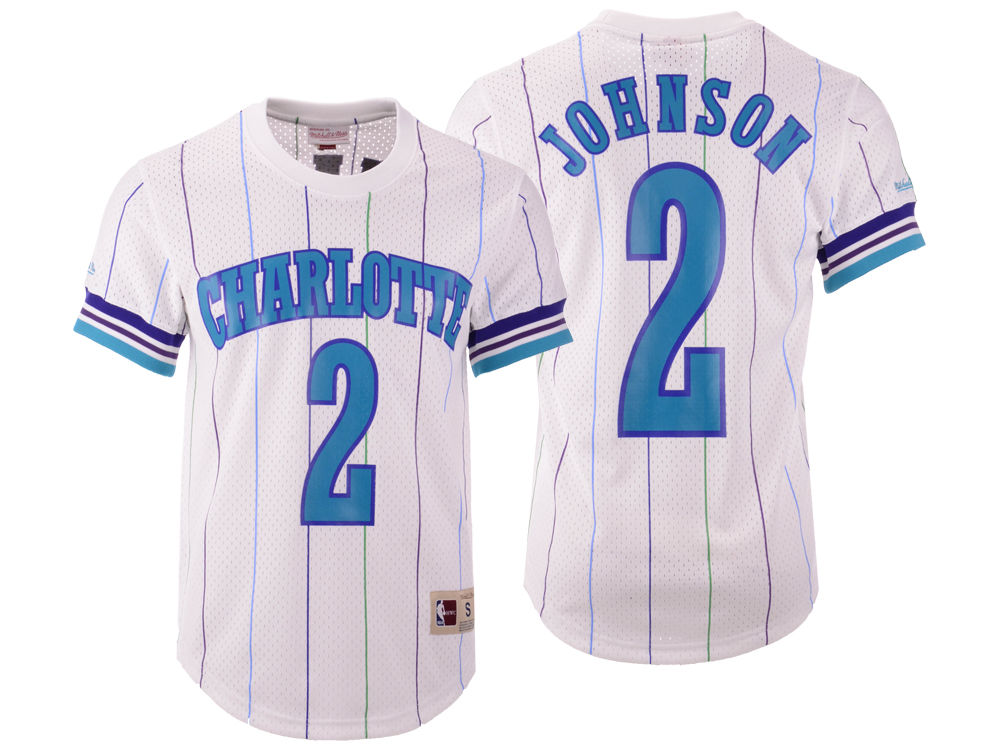 Charlotte Hornets Larry Johnson Mitchell   Ness NBA Men s Name and Number  Mesh Crewneck Jersey  6926dbcbe