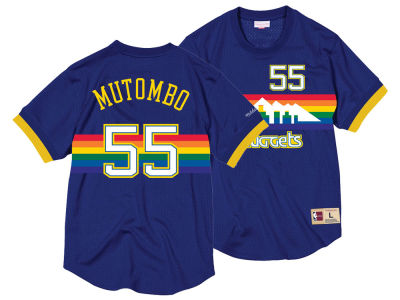 Denver Nuggets Dikembe Mutombo Mitchell & Ness NBA Men's Name and Number Mesh Crewneck Jersey