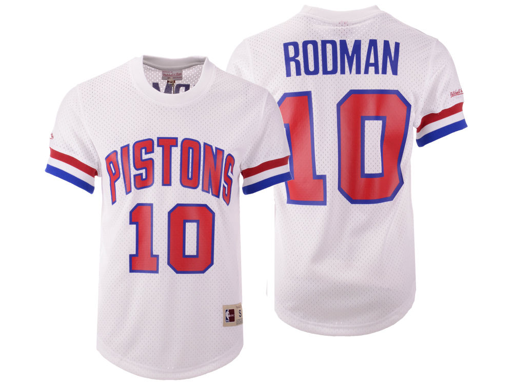 a6c2304467c ... reduced detroit pistons dennis rodman mitchell ness nba mens name and  number mesh crewneck jersey db810