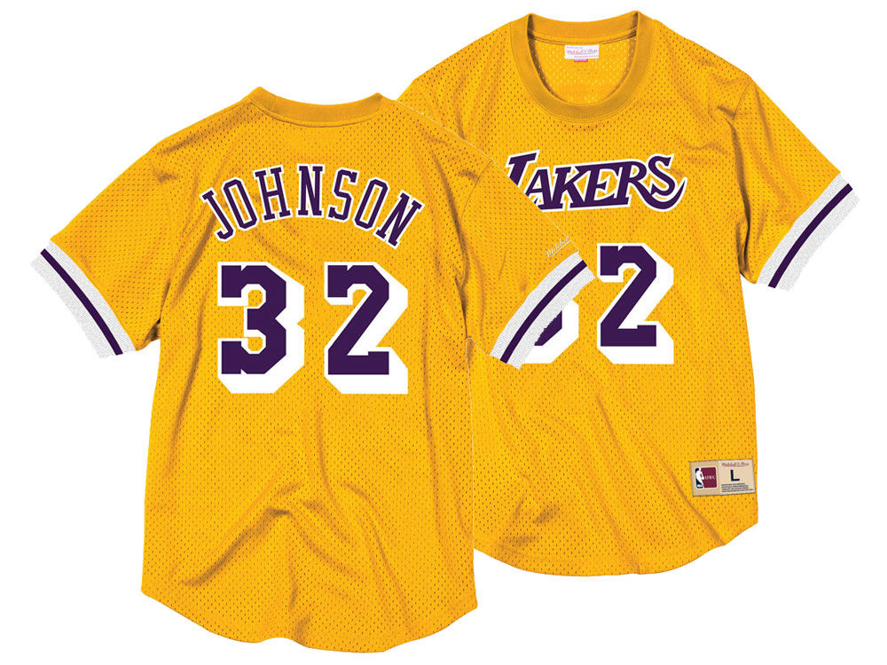 Los Angeles Lakers Magic Johnson Mitchell   Ness NBA Men s Name and Number  Mesh Crewneck Jersey  843199e98