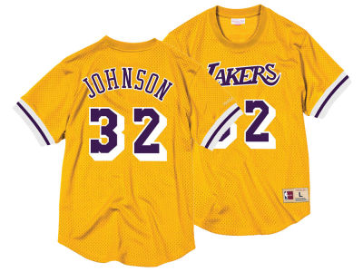 Los Angeles Lakers Magic Johnson Mitchell & Ness NBA Men's Name and Number Mesh Crewneck Jersey