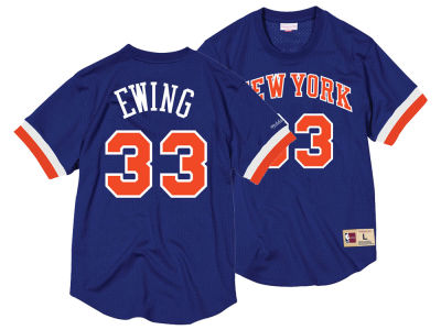 New York Knicks Patrick Ewing Mitchell & Ness NBA Men's Name and Number Mesh Crewneck Jersey