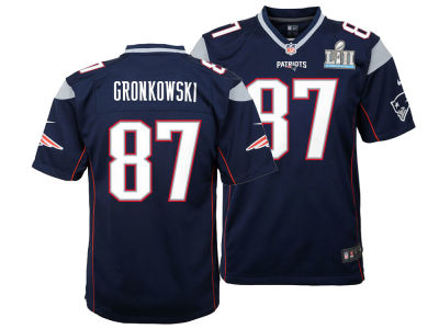 New England Patriots Rob Gronkowski Nike NFL Youth Super Bowl LII Patch Jersey