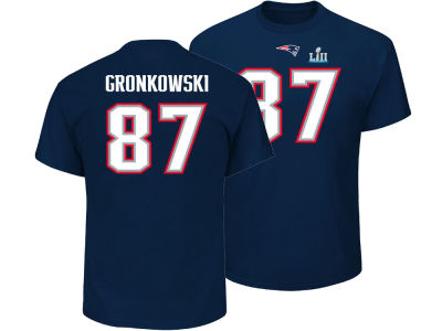 New England Patriots Rob Gronkowski NFL Men's Super Bowl LII Bound Eligible Receiver Player T-Shirt