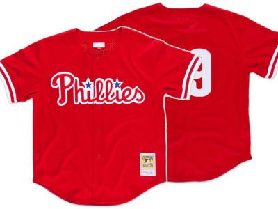 Philadelphia Phillies John Kruk Mitchell & Ness MLB Men's Authentic Mesh Batting Practice V-Neck Jersey
